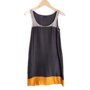 Theory Petalia Sidewalk Silk Colorblock Dress